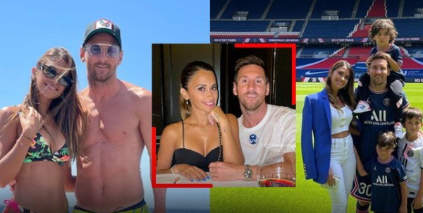 """""""Messi"""" shows off a picture of the his wife"""